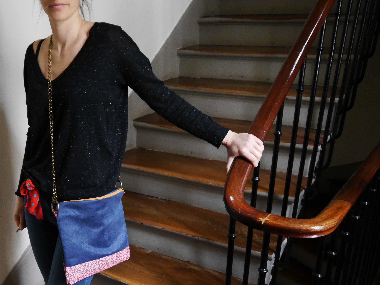 sac bi matière en suédine bleu et coton enduit à motif
