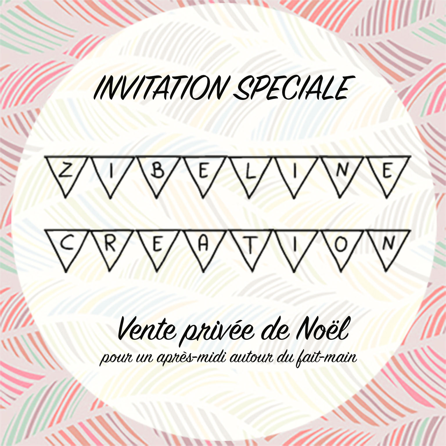 carte invitation vente privée noel Zibeline création